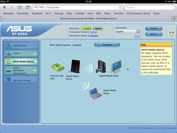 Asus RT-N56U dual-band wireless router interface