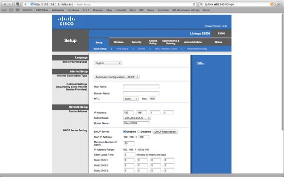 Cisco Linksys E2500 dual-band wireless router interface