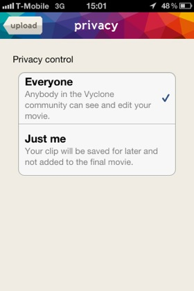 Vyclone iPhone app screenshot
