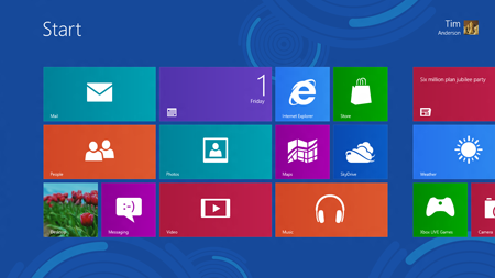 Windows 8 new start screen