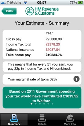 HMRC Tax Calc iOS app