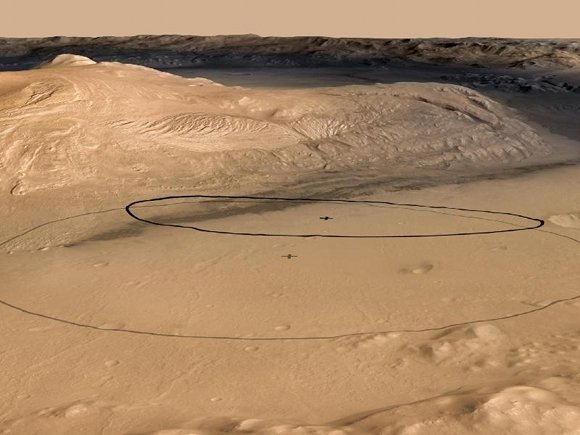 The old and new landing targets for Curiosity