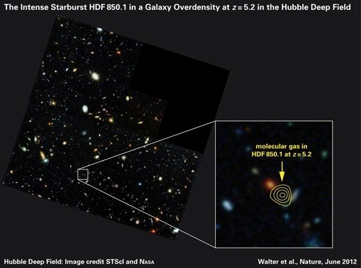 The Hubble Deep Field, with the position of the submillimeter galaxy HDF850.1 marked with contour lines. The lines represent the date of submillimeter observations of the galaxy; in visible ligh
