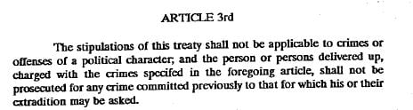 Article 3rd of the US-Ecuador extradition treaty