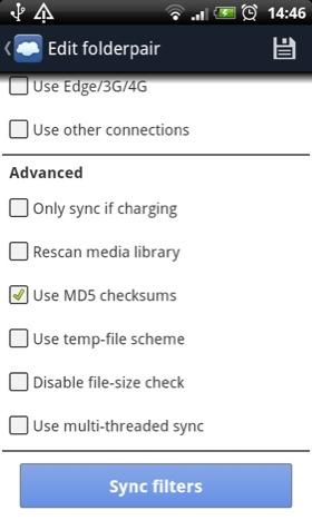 FolderSync Android app screenshot