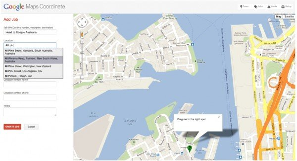 The add new jobs screen in Google Maps Coordinate