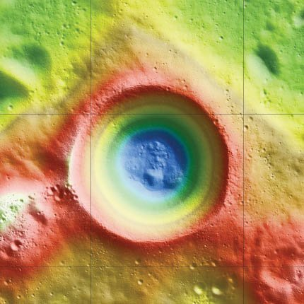 Shackleton crater: false colors indicate height, with blue lowest and red/white highest.