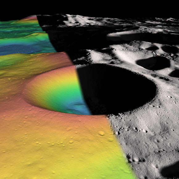 Elevation (left) and shaded relief (right) image of Shackleton, a 21-km-diameter (12.5-mile-diameter) permanently shadowed crater adjacent to the lunar south pole.