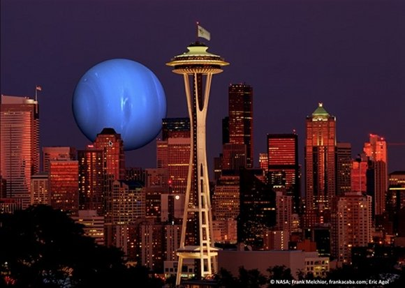 Gas giant sits on the Seattle skyline