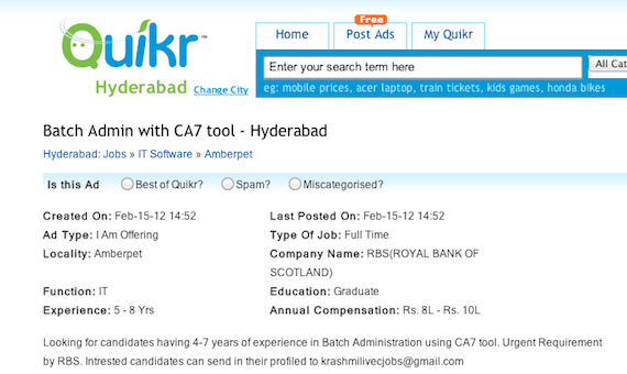 A job advert for a CA-7 post for RBS, screengrab Quikr