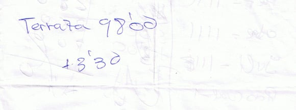 The reverse of the scrap of paper showing the total