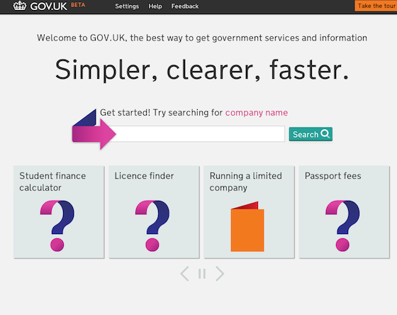 New homepage of Gov.uk, credit sc