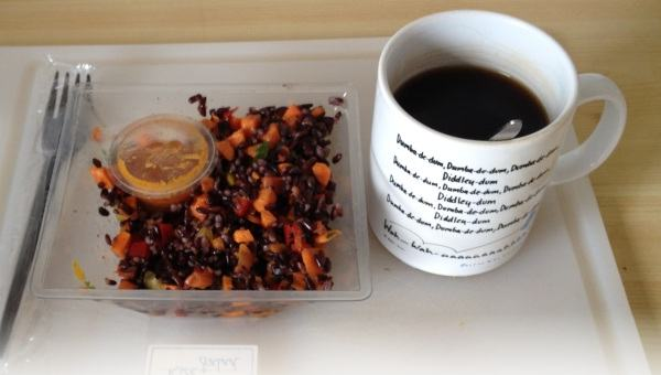 Pic of Verity's lunch: fancy salad stuff and coffee.