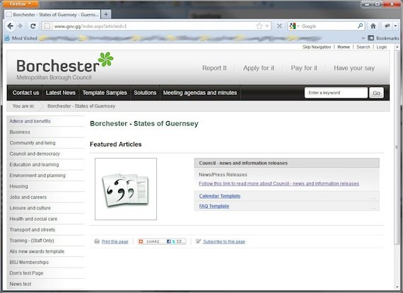 The Guernsey site when it went wrong and started displaying information about Borchester