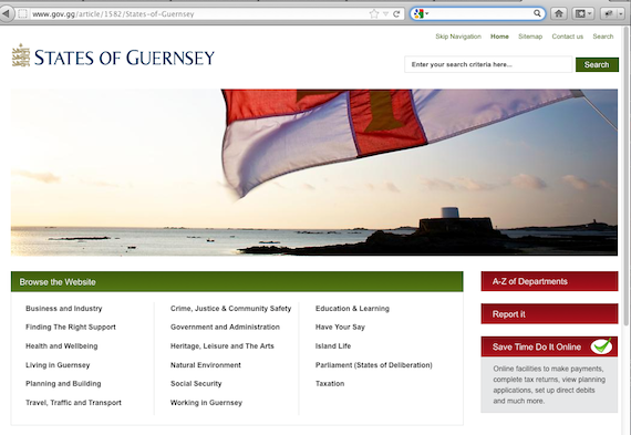 A screen grab of the Guernsey website