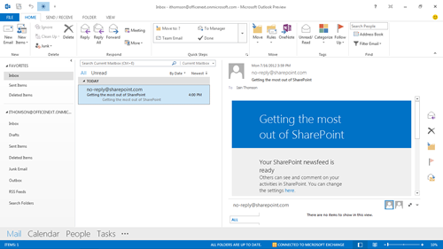 Screenshot of Outlook in touch mode from Office 2013 preview