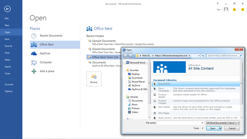 Cloud integration screenshot for Office 2013 preview