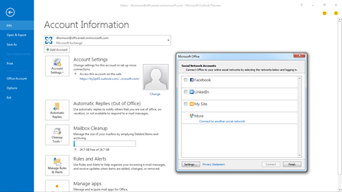 Social integration screenshot in Office 2013 preview
