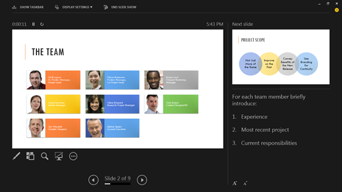 PowerPoint Presentation mode screenshot from Office 2013 preview