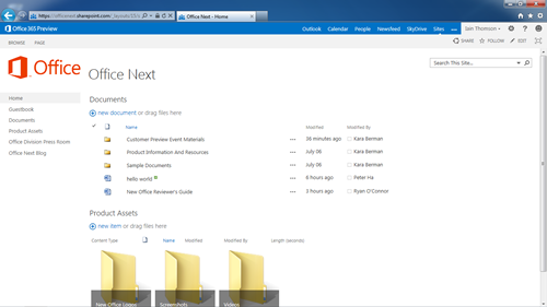 SharePoint screenshot from Office 2013 preview