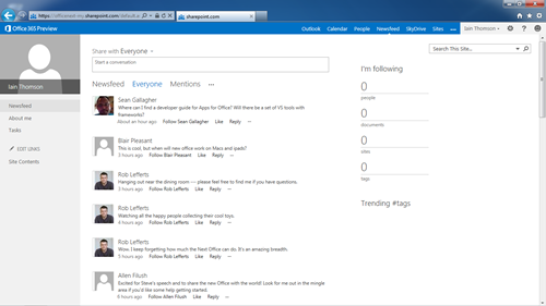 SharePoint social features screenshot from Office 2013 preview