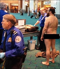 John Brennan protests TSA security by going starkers