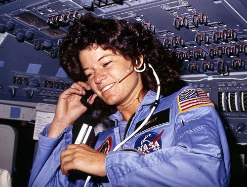 Photo of Sally Ride aboard the Space Shuttle, 1983