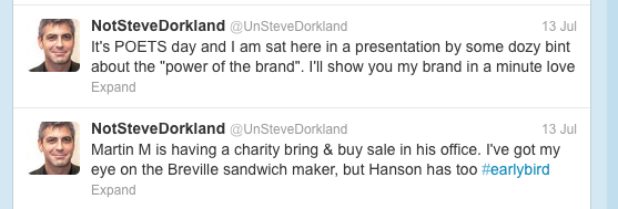 The Not Steve Dorkland twitter account, screengrab