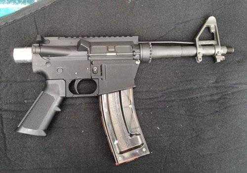 Image of AR-15 rifle assembled from 3D-printed parts