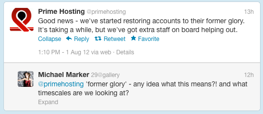 Outage at Prime Hosting tweets, credit screengrab Twitter