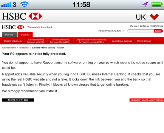 HSBC Banking app mistake, credit screengrab of app
