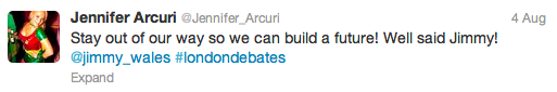 Screenshot of a tweet that reads: Stay out of our way so we can build a future! Well said Jimmy!