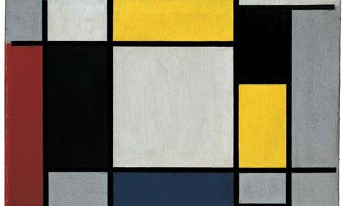 """Composition with yellow, red, black, blue, and grey"" by Piet Mondrian (1920)"