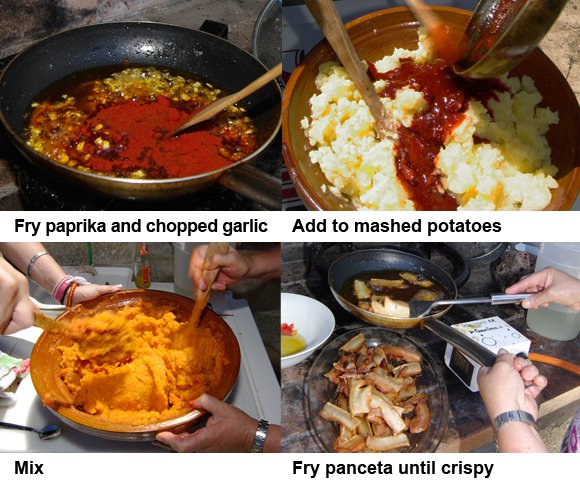 The second four steps in the patatas revolconas preparation process