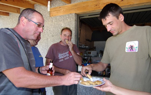 Three locals get stuck into pierogi