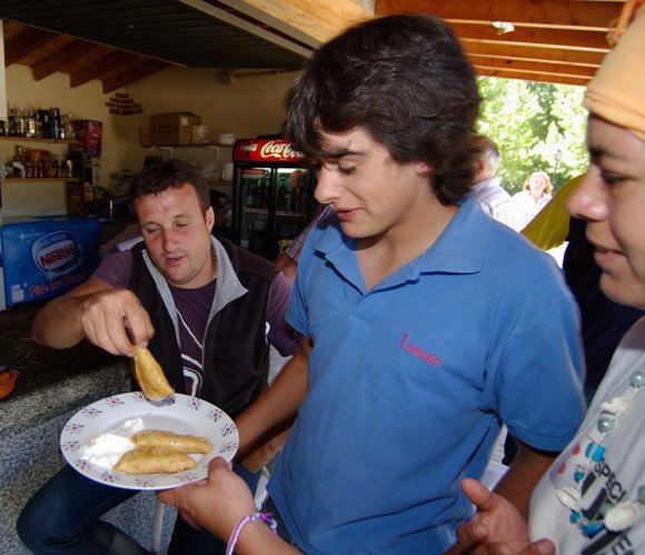 A local lad looks unimpressed with pierogi