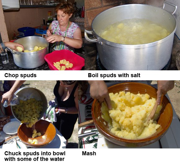 The first four steps for making patatas revolconas