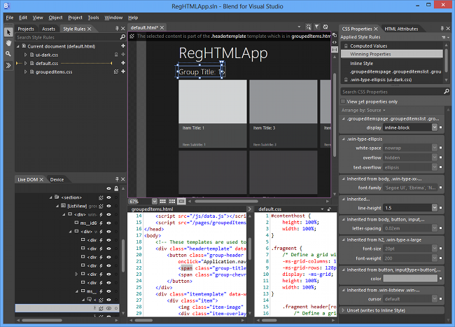 screen grab of visual studio sf
