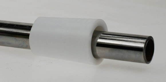Our Teflon insert on a test length of steel tube