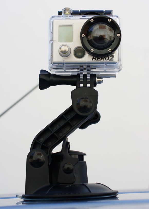 The HERO2 with its suction cup mount atop the van