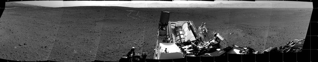 Tracks left behind by the curiosity mars rover