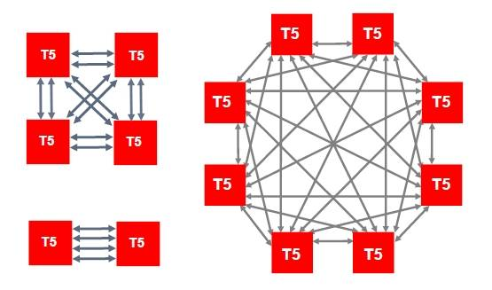 The topology for the cache coherency interconnect for Sparc T5 systems