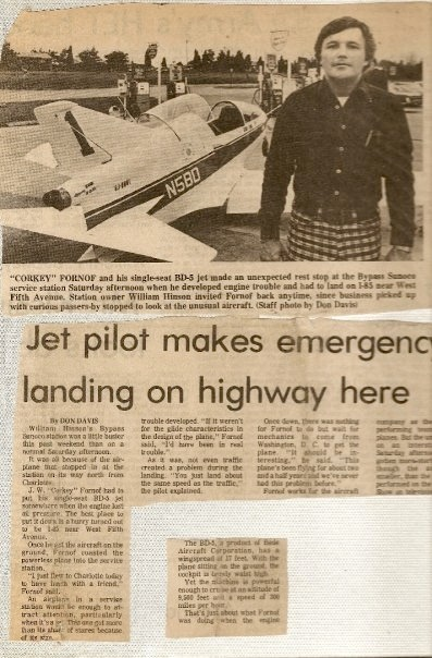 Corky and the BD5 in a news clipping