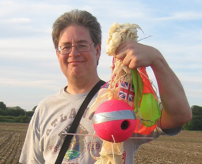 Dave Akerman with his recovered Cloud 7 payload