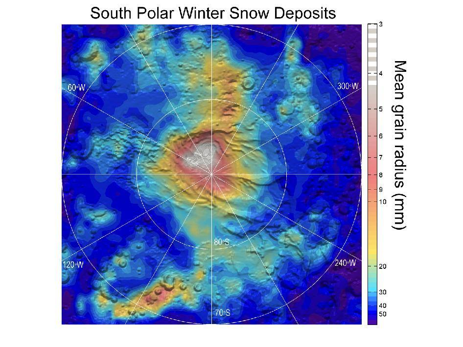 mars snow fall map