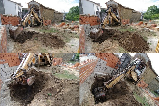 Four photos showing Ramon beginning to dig the hole for the well