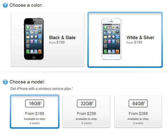 Screenshot of Apple Store showing iPhone 5 ship dates
