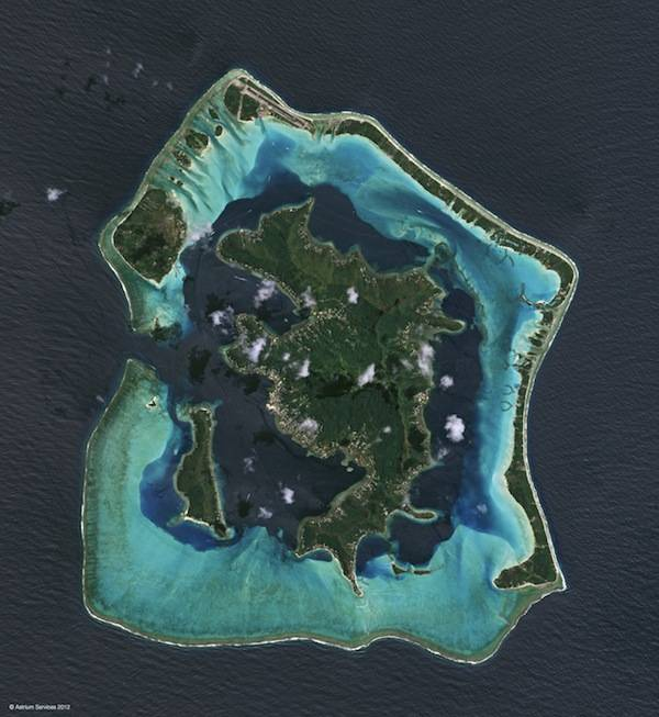 Bora Bora as seen from the new Spot 6 earth observation satellite