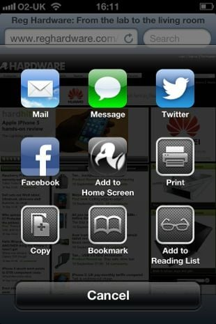 Apple iOS 6 share menu