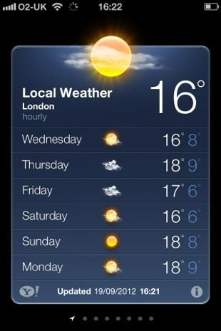 Apple iOS 6 Weather